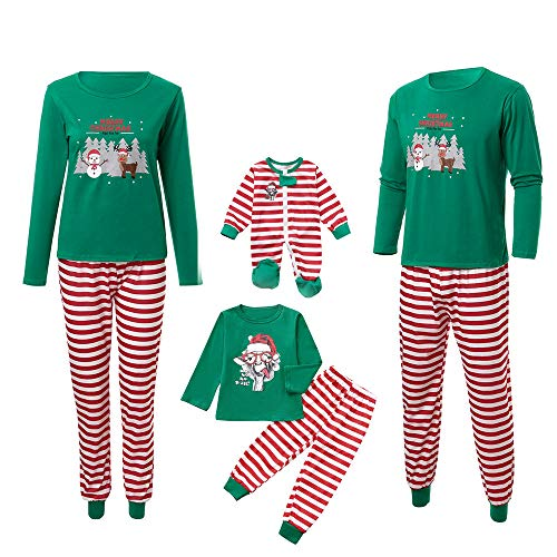 Pyjamas Outfit Schlafanzug Nachtwäsche Damen Herren Baby Säugling Family Kleidung Zuhause Matching Set Xmas, Daddy Stripe Santa Tops Blusenhosen (Mom,X-Large) ()