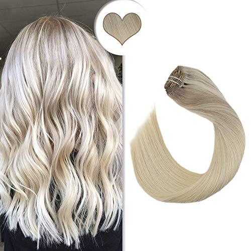 【8% Rabatt】Ugeat 7pcs/120g Clip in Extensions Echthaar Balayage Blond #18/22/60 100% Human Hair Extensions Double Weft Voller Kopf Remy Clip in Haarverlängerung 45cm
