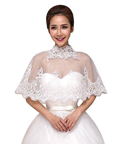 SK Studio Damen Braut Spitzejacke Mesh Bolero Mit Bestickt Kragen Cape Für Brautkleid Weiß Top Spitzen Tüll Jacke -