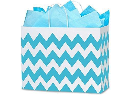 Nashville Wraps Shopping Gift Bags 25 Count - Chevron Stripe - Turquoise - Vogue by Nashville Wraps