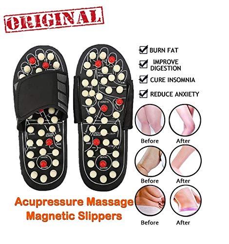 NUTRAFY Acupressure Massage Slippers Leg Foot Massager (Black, Free Size)