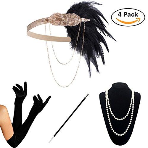 (KQueenStar 1920s Damen Accessoires Set Haarschmuck Halskette Handschuhe Zigarettenhalter Stirnband 20er Jahre 1920s Charleston Gatsby Retro Stil Kostüm Ball (4PCS-C))