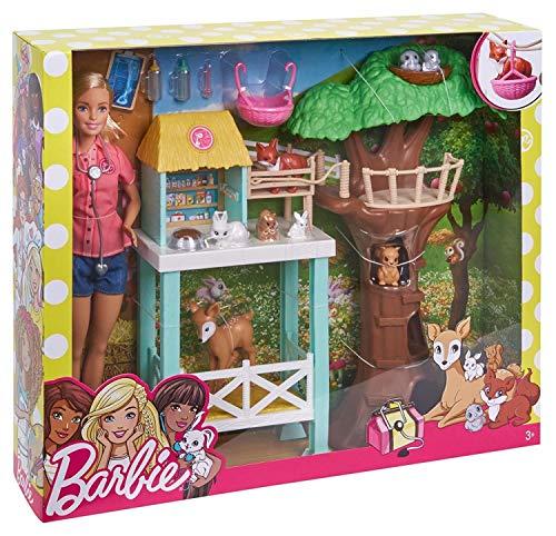 Barbie FCP78 - Tierarzt-Rettungsstation und Puppe