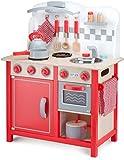 New Classic Toys - 11060 - Kinderrollenspiele - Hölzern Kinderküche - Bon Appetit - DeLuxe - Rot - Einschließlich Zubehör
