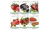 6 Sorten | Gemüsesamen Sortiment | Gourmet Edition | Set für Aubergine Italiano-Paprika Jalapeno-Chili Ochsenherz-Tomate Salat-Tomate Nasch-Tomate | für Anzucht im Garten-Beet und Balkon