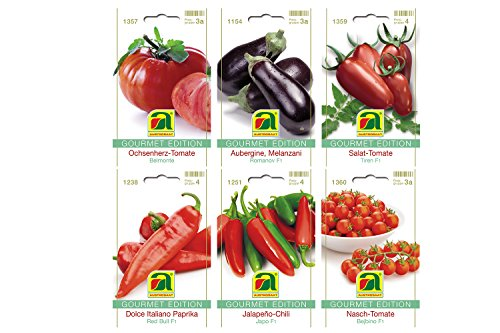 6 variedades | Surtido de semillas de verduras | Edición Gourmet | Set para berenjena Italiano-pimentón Jalapeño-Chile Ensalada de tomate y corazón de buey Ensalada de tomate-tomate Nasch | para el cultivo en el jardín-cama y balcón