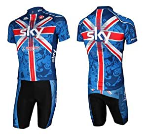 2011-2013 Tour De France SKY Team Short-Sleeved Bib Cycling Jersey Set Mountain Bike Clothing Shirt and pant Bike Sports Clothing SKY cycling Team wear strap suits (Colour 10, X-Large)