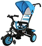 #10: Baybee Smobee Trolly Cycle with Canopy - Double Handle Parent Control (Black-Blue)