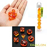 Bescon Mini Durchsichtig Polygonal Würfel Set 10mm- Small Transparente Mini Spielwürfel D&D Dice Set of 7, Kleine RPG - Rollenspiel Polyedrische Dice Set D4-D20 in Tube, Transparente Orange