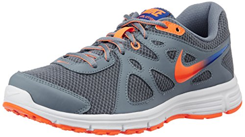 Nike Men's Black, Grey and Total Orange Revolution 2 Msl Running Shoes