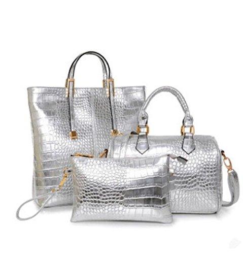 PACK Lady Bag Autunno Ed Inverno Modelli Grande Borse Europa E Stati Uniti Moda Tre Pezzi Sotto-pacchetto Spalla Grande Capacità,A:ClassicBlackSuit C:TemperamentSilverSuit