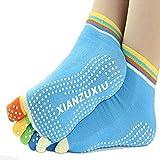 Lemish's Women Men Anti-Slip Grip Workout Yoga Mix Color Feety Five Finger Pure Cotton Socks
