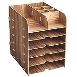 HomJoy Wooden Desktop Organiser, DIY Home Office Supplies Storage Cabinet with 5 A4
