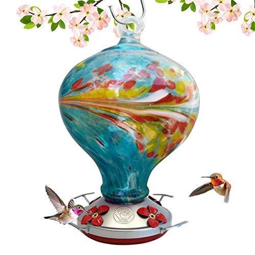 Grateful Gnome Hummingbird Feeder-mundgeblasenes Glas-Blau Ei mit Blumen-36Flüssigunzen -
