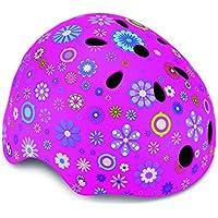 Globber Helm Junior, Flowers XS/S (51-54 cm) Pink Casco Flores, niña, Rosa, Extra-Small/Small