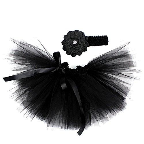 Honeystore Baby Fotoshooting Kostüm Haarbänder Rock Set Foto Outfit Stirnbänder Farbenfroh Tütü Balletrock Mini Unterrock Fotografie Verkleidung One Size Schwarz mit Päonien (Prinzessin Jasmin Baby Kostüme)