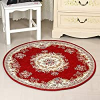 Traditional European Round Carpet Flowers Rug Simple Modern Living Room Coffee Table Bedside Computer Chair Floor Mat-wine Red A Diameter 160cm