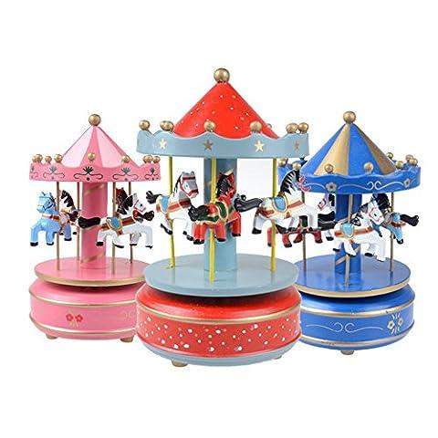Boîte à musique en forme de carrousel Manège 4 Chevaux en Bois Cadeau pour Anniversaire 1pcs Multi Couleur-Couleur Aléatoire