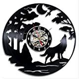 Yanshu Reloj de Pared de Vinilo para Sala de Estar, Dormitorio, Cocina, Oficina, decoración del hogar The Wolf Modern Design Record 12 Inch 3D