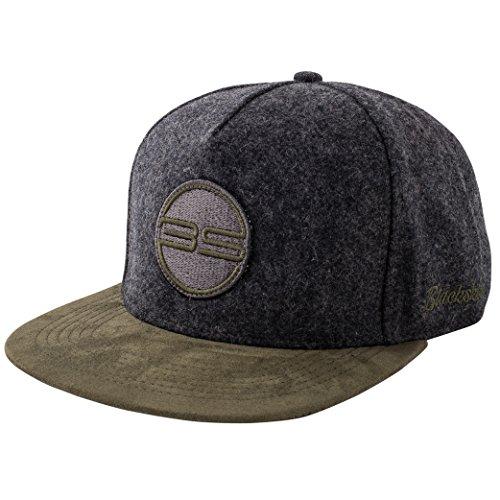 Blackskies Gaea Snapback Cap Grau Grün Wildleder Schirm Flanell Unisex Premium Baseball Mütze Kappe Wolle