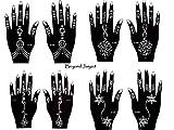 Aktion ! Henna Tattoo Schablonen 8 Stück Set zur einmaligen Verwendung für Hände auch für Glitter Tattoo und Air Brush Tattoo geeignet Set Jaiya