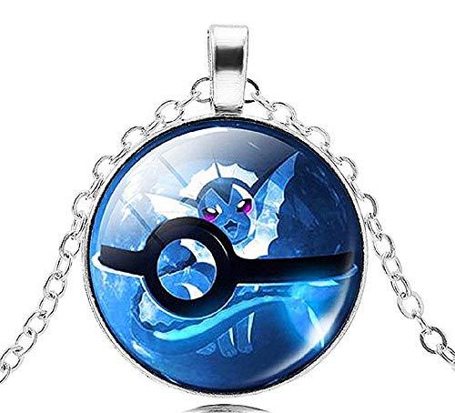 Kostüm Pokeball - KIRALOVE Halskette Pokemon Go Sphere Pokeball Trap Kinder Jungen Damen Herren Unisex Kostüm Schmuck (blau)