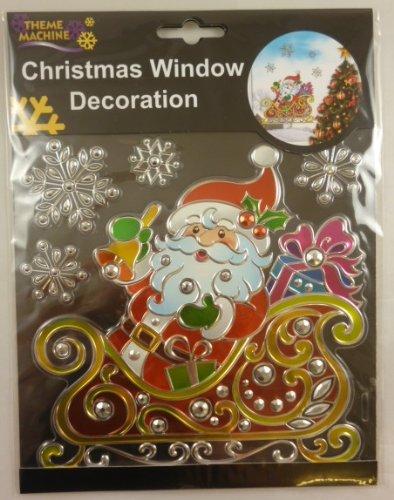 Weihnachtsfenster -Dekoration-Aufkleber / Suncatcher - Santa Mit Schneeflocken ( DP116 ) (Suncatcher Schneeflocke)