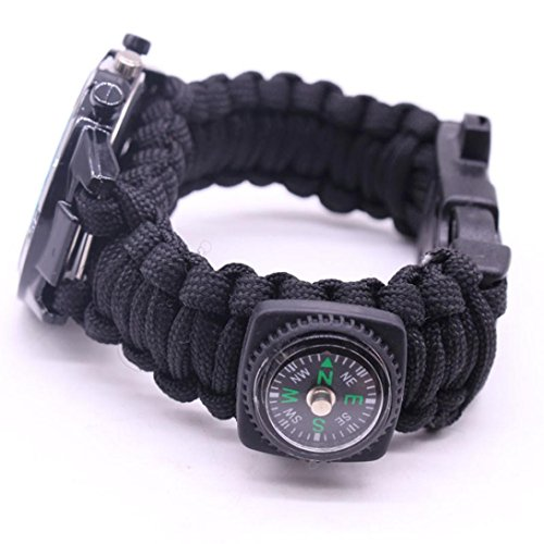 Yogogo Outdoor Survival Watch Armband Paracord Kompass Flint Feuerstarter Pfeife (Bunt D) - 3