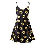 Ladies Dress,Internet Women Dress Summer Vintage Printed Sleeveless Strappy Summer Beach Swing Camis Dress Maxi Dress Retro Mini Dress Boho Beach Sundress (S, Yellow)