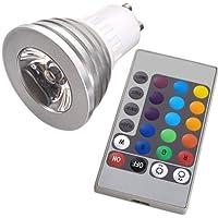 TOOGOO (R) GU10 LED Lmpara Bombilla 16 Colores Mando a Distancia