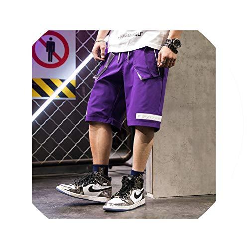 Men Summer Knee Length Hip Hop Shorts Trousers Male Casual Fashion Loose Style Shorts Streetwear Hombre,Purple,XXL