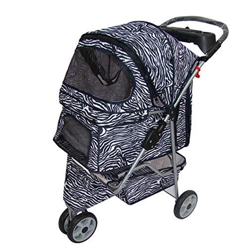 YUMEIGE Hundewagen Gestell aus legiertem Stahl für Kinderwagen, Traglast 15 kg für Hundebuggy, wasserdichtes mehrfarbiges Tuch Pet Kinderwagen PU Layer 600D (Color : Zebra)