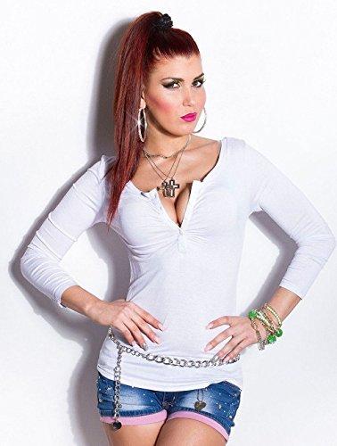 Blanco Store Maglia Donna Manica Lunga Maglietta Aderente Scollo a V con Bottoni Bianco