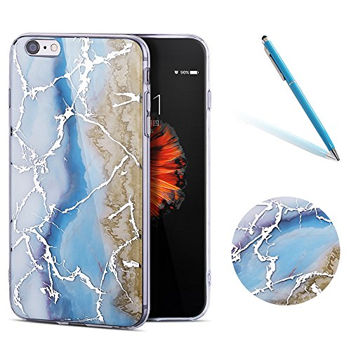 """iPhone 6sPlus Schutzhülle, Neue Marmor CLTPY iPhone 6Plus Schlank Hybrid Handytasche Leichtbau Gummi Abdeckung Luxus Bunt Motiv Back Cover für 5.5"""" Apple iPhone 6Plus/6sPlus (Nicht iPhone 6/6s) + 1 x  Meeresblau"""