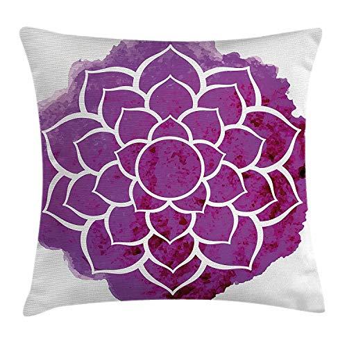 Funda de cojín de mandala morada, diseño de flor de loto, acuarela para yoga, meditación, estilo...