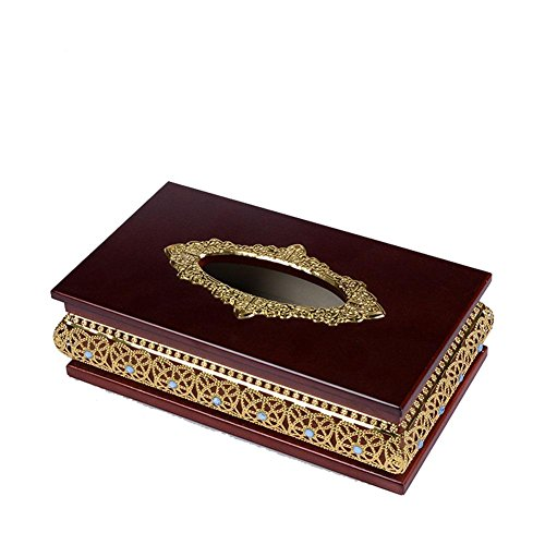 CanKun Creative Tissue Box Cover Papier Serviette Box Spender für Home Office Auto Dekor , gold , 14.5x25.5x10cm (Leder-reise-tray)