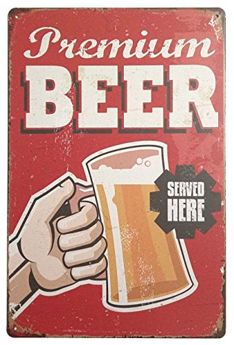 Pin Up - Vintage Tin Poster with Text in English Beer Served Here (17,7 x 25,4 cm)