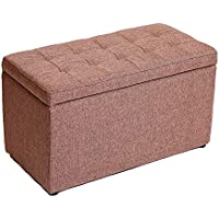Preisvergleich für Lagerung Hocker LXF Folding Ottoman Aufbewahrungsbox Bank mit Deckel Faltbare Baumwolle und Leinen Kinder Spielzeug Schuh Brust Boxen Großen Fuß Hocker 60 * 30 * 35cm (Farbe : Brown)