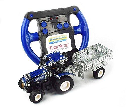 RC Auto kaufen Traktor Bild 4: Tronico 09561 - Metallbaukasten Traktor New Holland T5-115 mit Kippanhänger und Fernsteuerung, Maßstab 1:64, Micro Serie, blau, 454 Teile*
