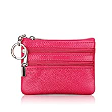 Genuine Leather Coin Purse Mini Pouch Change Wallet with Key Ring (Rose Red)