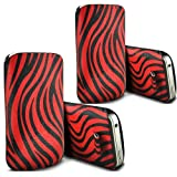 ONX3 - TWIN PACK - Huawei Ascend W2 Zebra PU Leather Pull Tab Protective Pouch Cover Skin Case (Red and Black)