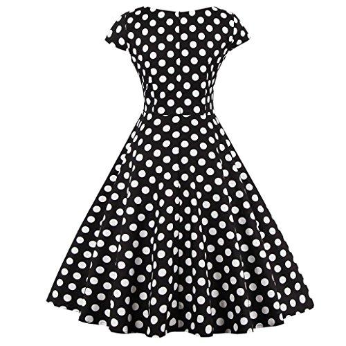 FAIRY COUPLE 1950S Retro Rockabilly Tupfen Kappen Hülsen Abschlussball Kleid DRT019 Schwarze Punkte