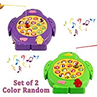 Juego de mesa de pesca musical Juguete giratorio de juguete Luz de colores con peces y cañas de pescar para 3+ niños, Entrega al azar de color (Música de control)