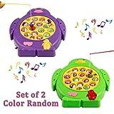 Juego de mesa de pesca musical Juguete giratorio de juguete magnético Luz de colores con peces y cañas de pescar para 3+ niños, Entrega al azar de color (Música de control)