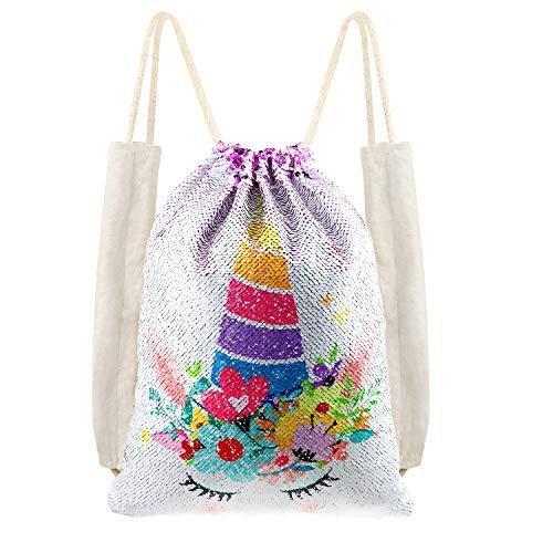 DRESHOW 1 Pack Unicorn Lentejuelas Mochila con cordón Sirena Bolso de lentejuelas Reversible mágica bolsa brillante regalo Unicornio para niñas Boy