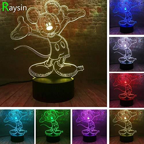 ZNNYE 3D Nachtlicht Kinderheim Leuchtende Baby Mickey Illusion Led Nachtlicht Bunten Flash-Animation Figur Spielzeug Party Lieferant Kinder Geschenk