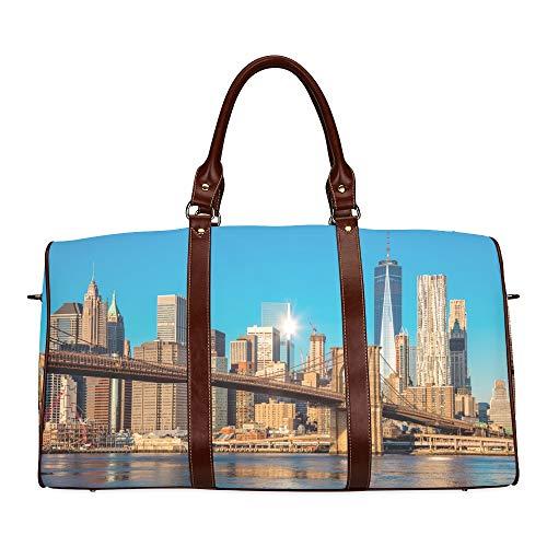 Reisetasche New York City Skyline Over River wasserdichte Weekender-Tasche Reisetasche Frauen Damen-Einkaufstasche Mit Mikrofaser-Leder-Gepäcktasche