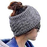 Butterme Invierno De Punto De Las Mujeres De Banda De Pelo Banda De Pelo Crochet Ear Warm Head Wrap(Gris oscuro)