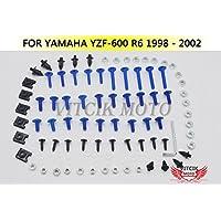 VITCIK Kit Completo de Tornillos y Pernos de Carenado para Yamaha YZF - 600 R6 1998 1999 2000 2001 2002 Clips de Sujeción en Aluminio CNC de La Motocicleta (Azul & Plata)