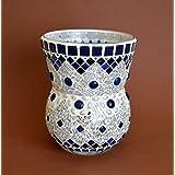 Handgefertigte Vase Windlicht in blau